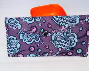Large Fold Over Snap wallet in Purple Floral