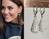 Kate Middleton Inspired Hope Egg Crystal Engagement Earrings Pave Crystal Silver-e427