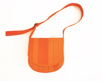 Karate Belt Curve Shoulder Bag Orange Eco Friendly Sustainable Fashion Structured Handbag Women Men High Quality Leather Alternative Vegan