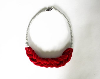 Featherweight Braid Collar Crimson Light Grey Eco Sustainable Jewelry Slow Fashion Velvet Accessory Handwork Women Red Fishtail Cotton Coil