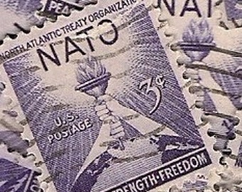 Vintage Postage stamps, 40 cancelled stamps FREE SHIPPING North Atlantic Treaty Organization,used stamps, purple stamps, lot of stamps