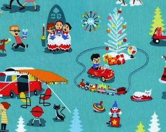 Michael Miller Retro Christmas Fabric, Mid-Century Christmas- yardage