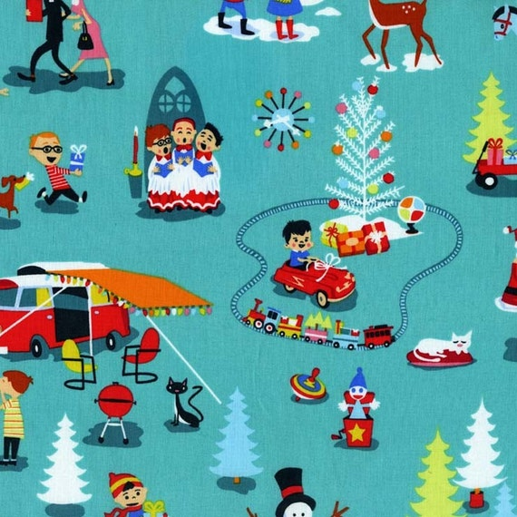 Michael Miller Retro Christmas Fabric Mid-Century Christmas