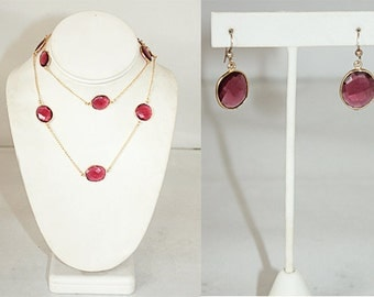 Bezel Set Faceted Raspberry Red Quartz Necklace & Earring Set with Gold Plated Vermeil Chain