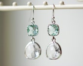 Clear And Light Green Glass Earrings Crystal Erinite Silver Dangle Earrings Titanium Hypoallergenic