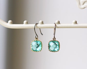Blue Zircon Glass Titanium Earrings Dainty Gold Square Nickel Free Simple Everyday