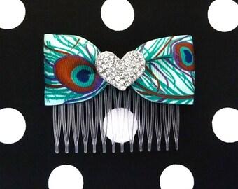 Peacock Lovely Sparkle Heart Hair Comb - Burlesque - Retro