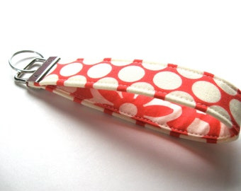 Key Fob, Wristlet Key Chain, Fabric Key Fob - Full Moon Polka Dots in Cherry - READY TO SHIP