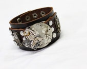 Steampunk and Clockwork leather cuff