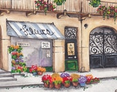 French Flower Shop - Mix-Medium Gilcee / Watercolor Original by C Wiedenheft