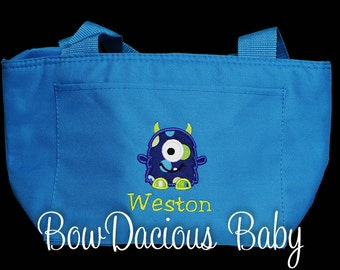 Boys Lunch Box, Monster Lunch Bag, Personalized Monster Lunch Bag or Tote, Custom Colors and Name, Boys or Girls