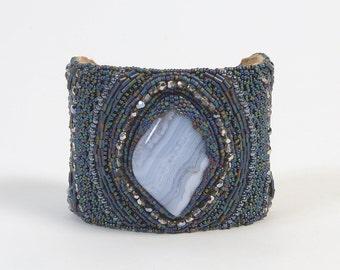 CUFF Bead Embroidered Gemstone Chalcedony -  OOAK
