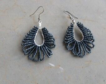 Teardrop Earrings in Gunmetal Black