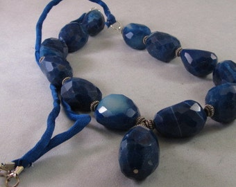 Chunky Blue Agate Necklace on Silk Cord