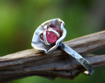 Rough ruby gemstone ring,sterling silver,raw uncut gemstone,handmade,flower ring,made to order.