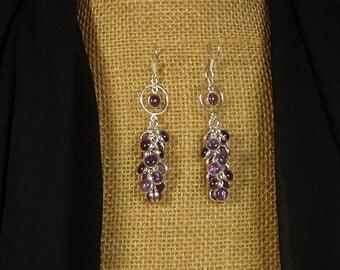 Natural Amethyst Gemstones and .925 Silver Earrings