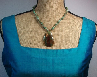 Natural Turquoise Gemstone Chips,.Ceazy legs Agate Gemstone pendant,.925 Siver Necklace