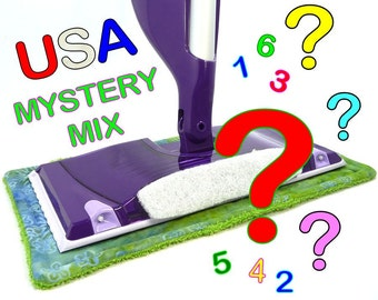 1 to 8 USA Mystery Pack Reusable Swiffer Wet Jet pads, Washable WetJet, EcoSwift pad, EcoGreen Pads, EcoSwifter, DetroitKnitter, Detroit USA
