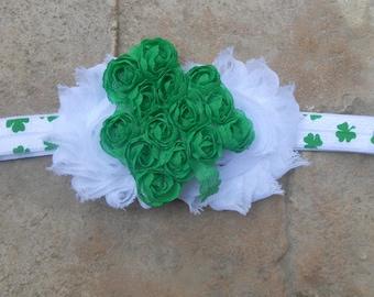 Ships in next day St Patricks day  white shabby flowers and  green shamrock headband chiffon  newborn-toddler-girls Pinch Proof
