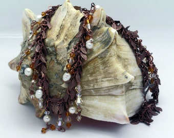 Copper Leaf, Crystal and Pearl Necklace