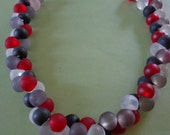 Frosted Glass Bead Choker Necklace in black, read, gray and clear