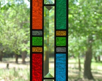 Geo Multicolor Stained Glass Suncatcher with Bevels