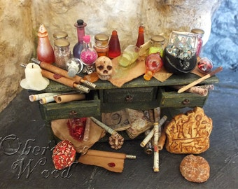 Alchemy Potions Cupboard, Witch and Wizard Accessories, Dollhouse Miniature, Autumn Shades