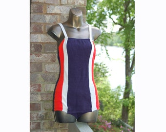 1950s swimsuit, terry cloth bathing suit, terrycloth swimsuit, red white blue, teen age beachwear, Size S