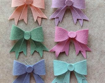 Watercolors - Bows - 12 Die Cut Wool Felt Unassembled Bows
