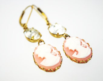 SALE - Cameo Earrings in Pink and Ivory with Vintage Jewels - Lady Cameos