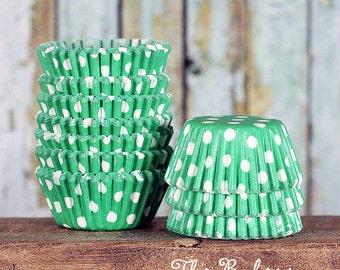 MINI Green Polka Dot Cupcake Liners, Kelly Green Cupcake Liners, Green Candy Cups, Polka Dot Cake Pop Cups, Christmas Cupcake Liners (100)
