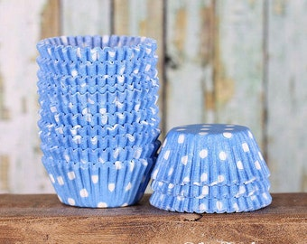 MINI Light Blue Polka Dot Cupcake Liners, Baby Blue Mini Liners, Baby Shower Mini Treat Cups, Light Blue Candy Cup, Cake Pop Cup (100)