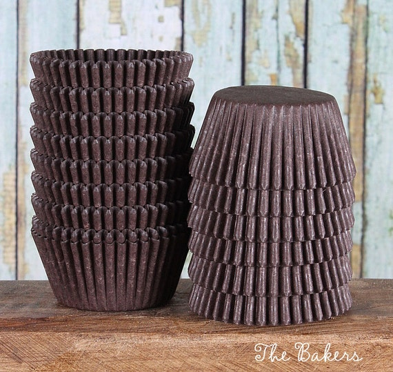 Midi Brown Cupcake Liners, Two Bite Cupcake Liners, Brown Cupcake Wrappers, Small Baking Cups, Brown Candy Cups, Small Cupcake Cases (100)