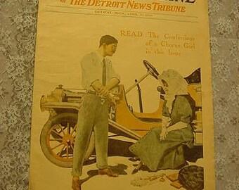 1909 Illustrated Sunday Magazine Detroit News Tribune Antique Stories Advertising Newspaper Teddy Roosevelt