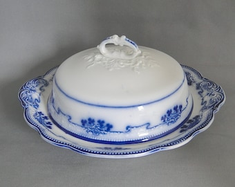 Antique Round Covered Butter Flow Blue Lorne Pattern by W. H. Grindley 19th Century