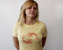 Burnout Shirt, Japanese Koi Fish Printed On a Ladies Fitted Tshirt, Graphic Tee Shirt, Light Pastel Yellow, Gold Fish, Goldfish Pond Nature