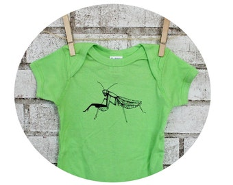 Praying Mantis Baby Onepiece Bodysuit, Infant Clothes, Key Lime Green, Hand printed, Garden Insect, Cool Bugs, Short Sleeve Unisex One Piece