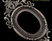 "40x30mm - ""Enchanted Black Forest"" - Antique Bronze Setting - 1pc : sku 05.08.14.8 - Q23"