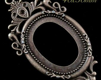 "40x30mm - ""Enchanted Black Forest"" - Antique Bronze Setting - 1pc : sku 05.08.14.8 - Q23"