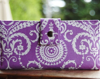 Wallet clutch in purple and white damask