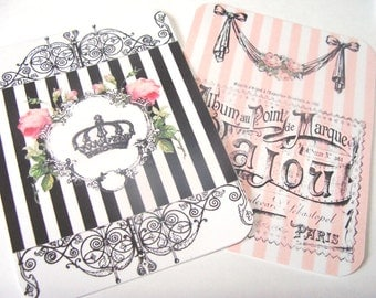 French Style  Tags - Set Of 4 - Pink And Black - Crown Tags - Roses Tags - Paris Cafe Tag - Cottage  Chic - Thank Yous - Gift Tags -