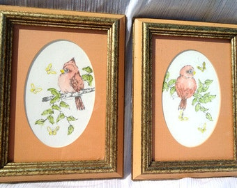 Set of 2 Whimsical 1980s Pink Bird Art by Carol Morrison