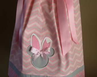 Minnie Mouse Easter Bunny Pink and Grey Chevron Pillowcase Dress (extra for personalization)