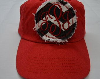 Red Baseball Raggy ADULT Hat Black and White Chevron Monogrammed