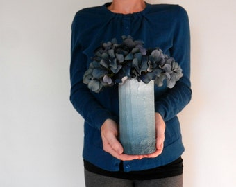 Slate Blue ombre Vase / blue home decor / handcrafted vase / blue flower vase / cylinder vase