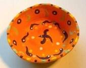 Straw Bale and Orange Hand Painted Citrus Bowl Bird Spirit Wheel Design Home Decor Catch All