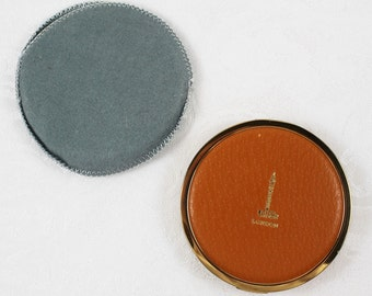 Vintage 1960s London Round Faux Leather Orange Mirrored Powder Compact