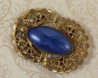 Vintage Golden Filigree and Swirling Blue Glass Belt Buckle