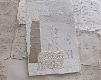 Collage Art - Original Collage with Antique Papers - Handwriting -Lace - No. 9