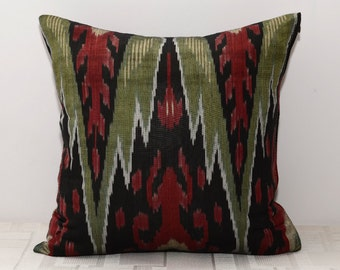 16x16, ikat cushion, maroon ikat, maroon pillow, green and red pillow
